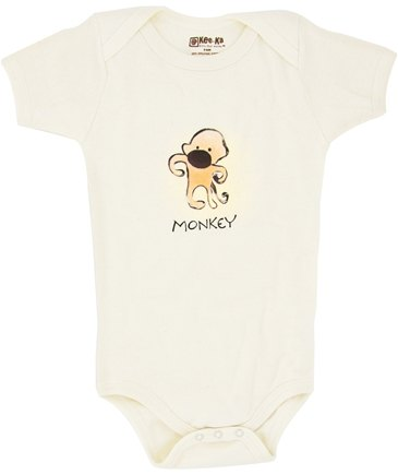 DROPPED: Kee-Ka - 100% Organic Cotton Short Sleeve BodySuit With Wearable Greetings Gift Box Monkey 3-6 Months - CLEARANCE PRICED