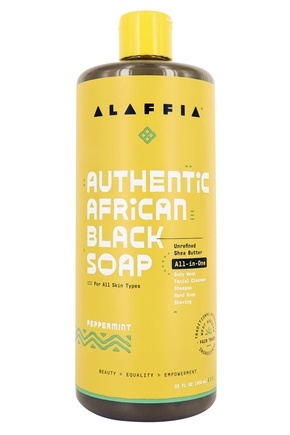 Alaffia - Authentic African Black Soap with Fair Trade Shea Butter Peppermint - 32 oz.
