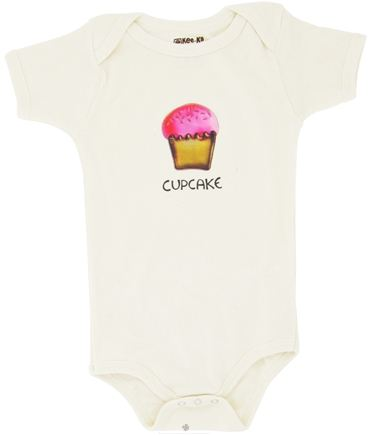 DROPPED: Kee-Ka - 100% Organic Cotton Short Sleeve BodySuit With Wearable Greetings Gift Box Cup Cake 6-12 Months - CLEARANCE PRICED