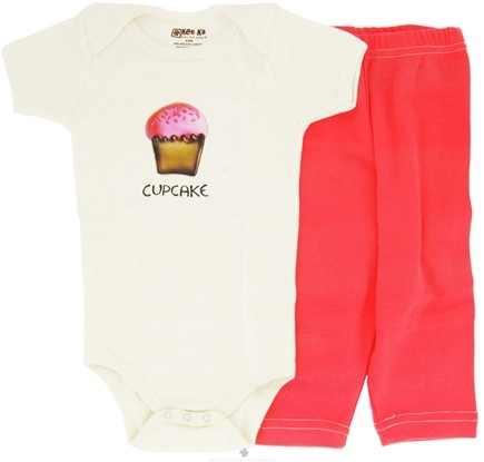 DROPPED: Kee-Ka - 100% Organic Cotton Baby Gift Set Short Sleeve BodySuit + Leggings Cup Cake 3-6 Months - CLEARANCE PRICED