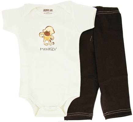 DROPPED: Kee-Ka - 100% Organic Cotton Baby Gift Set Short Sleeve BodySuit + Leggings Monkey 3-6 Months - CLEARANCE PRICED