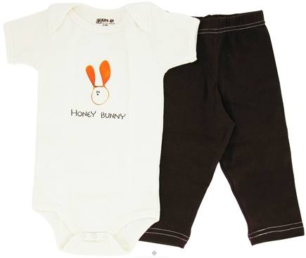DROPPED: Kee-Ka - 100% Organic Cotton Baby Gift Set Short Sleeve BodySuit + Leggings Honey Bunny 6-12 Months - CLEARANCE PRICED