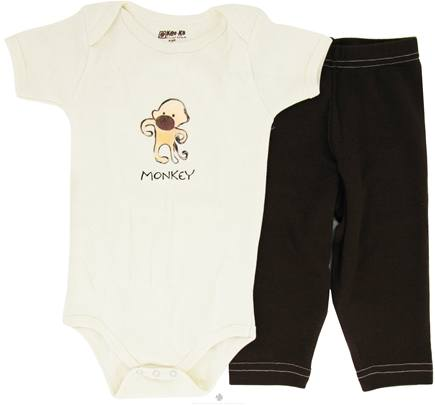 DROPPED: Kee-Ka - 100% Organic Cotton Baby Gift Set Short Sleeve BodySuit + Leggings Monkey 6-12 Months - CLEARANCE PRICED