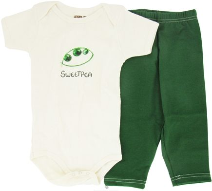DROPPED: Kee-Ka - 100% Organic Cotton Baby Gift Set Short Sleeve BodySuit + Leggings Sweet Pea 6-12 Months - CLEARANCE PRICED