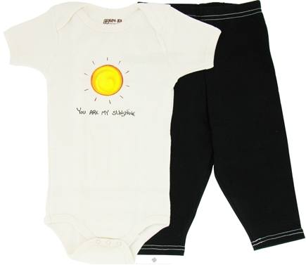 DROPPED: Kee-Ka - 100% Organic Cotton Baby Gift Set Short Sleeve BodySuit + Leggings You Are My Sunshine 6-12 Months - CLEARANCE PRICED