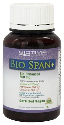 DROPPED: Biotivia - Bio Span+ Longevity Trans-Resveratrol Bio Enhanced 500 mg. - 60 Vegetarian Capsules