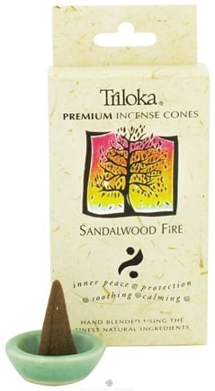 DROPPED: Triloka - Premium Incense Cones Sandalwood Fire - 14 Cone(s) CLEARANCE PRICED