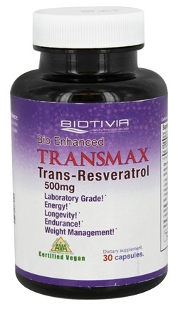 DROPPED: Biotivia - Transmax Bio Enhanced Trans-Resveratrol 500 mg. - 30 Vegetarian Capsules