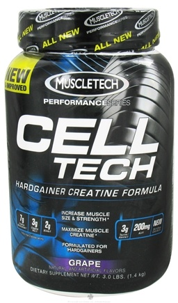 DROPPED: Muscletech Products - Cell Tech Performance Series Hardgainer Creatine Formula Grape - 3 lbs. CLEARANCE PRICED