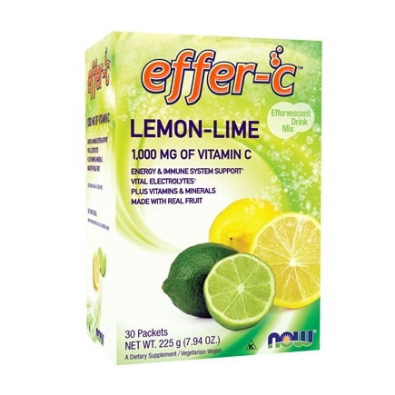 NOW Foods - Effer-C Effervescent Drink Mix Lemon-Lime - 30 Packet(s)