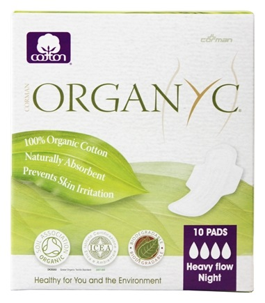 Organyc - Organic Cotton Menstrual Pads with Wings Heavy Night Flow Night - 10 Pad(s)