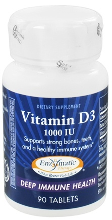 DROPPED: Enzymatic Therapy - Vitamin D3 1000 IU - 90 Tablets CLEARANCE PRICED