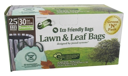DROPPED: Green 'N' Pack Eco Friendly Bags - Lawn & Leaf Bags with Drawstring 30 Gallon - 25 Bags