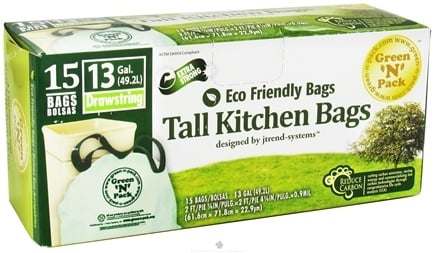 DROPPED: Green 'N' Pack Eco Friendly Bags - Tall Kitchen Bags with Drawstring 13 Gallon - 15 Bags CLEARANCE PRICED