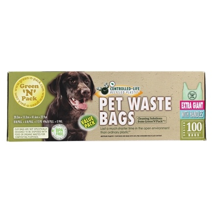 DROPPED: Green 'N' Pack Eco Friendly Bags - Dog Poo Bags Handle Ties Extra Giant Value Pack - 100 Bags CLEARANCE PRICED
