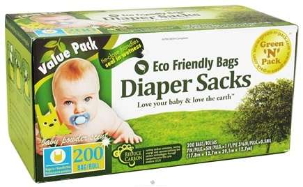 DROPPED: Green 'N' Pack Eco Friendly Bags - Diaper Sacks With Handle Ties Value Pack Baby Powder Scent - 200 Bags