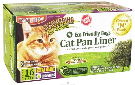 DROPPED: Green 'N' Pack Eco Friendly Bags - Cat Pan Liner With Drawstring Extra Gaint Value Pack - 16 Bags CLEARANCE PRICED
