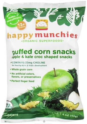 DROPPED: HappyBaby - Happy Munchies Puffed Corn Snacks Apple & Kale - 1.4 oz.