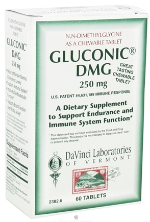 DROPPED: DaVinci Laboratories - Gluconic DMG 250 mg. - 60 Vegetarian Tablets CLEARANCE PRICED