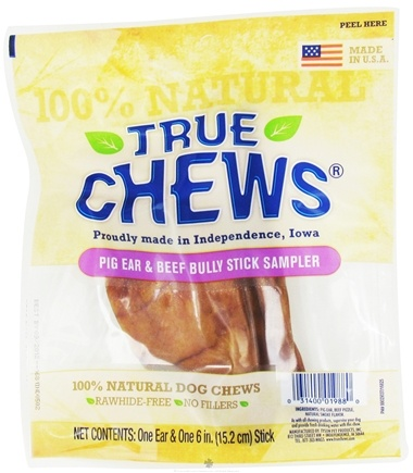 DROPPED: True Chews - Pig Ear & Beef Bully Stick Sampler For Dogs