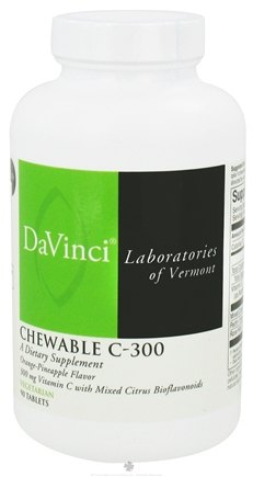 DROPPED: DaVinci Laboratories - Chewable C-300 Orange-Pineapple Flavor 300 mg. - 90 Vegetarian Tablets CLEARANCE PRICED