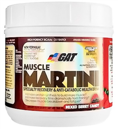 DROPPED: GAT - Muscle Martini Amino Acid Drink Mixed Berry Candy - 30 Servings - 365 Grams