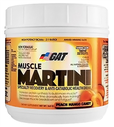 DROPPED: GAT - Muscle Martini Amino Acid Drink Peach Mango Candy - 30 Servings - 365 Grams
