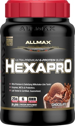 DROPPED: AllMax Nutrition - Hexapro Ultra Premium 6-Protein Blend Decadent Chocolate Milkshake - 3 lbs. CLEARANCE PRICED