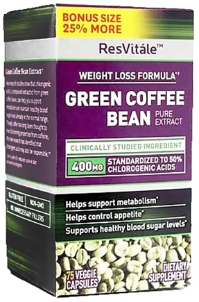 DROPPED: ResVitale - Green Coffee Bean Extract Bonus Size - 75 Vegetarian Capsules