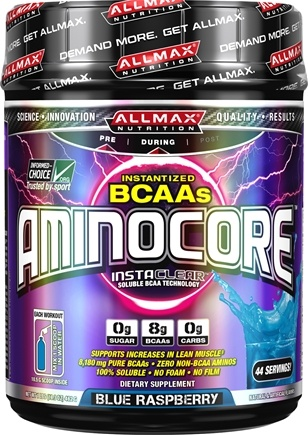 AllMax Nutrition - Aminocore Instantized BCAAs Blue Raspberry - 1.02 Grams