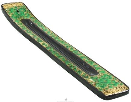 DROPPED: Triloka - Handpainted Incense Holder Green Power Flowers - 10 in. CLEARANCE PRICED