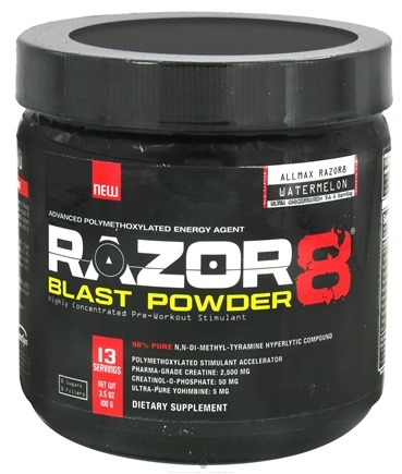 DROPPED: AllMax Nutrition - Razor8 Blast Powder Highly Concentrated Pre-Workout Stimulant Trial Size Watermelon - 100 Grams CLEARANCE PRICED
