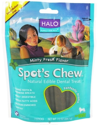 DROPPED: Halo Purely for Pets - Spots's Chew Natural Edible Dental Treat For Dogs Minty Fresh Flavor - 7.6 oz.