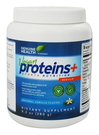 Genuine Health - Vegan Proteins+ Sports Nutrition Natural Vanilla Flavor - 9.2 oz.