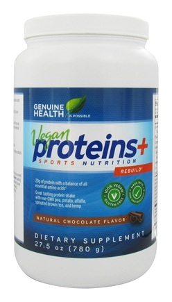 Genuine Health - Vegan Proteins+ Double Chocolate Flavor - 28 oz.