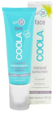 DROPPED: Coola Suncare - Mineral Sunscreen Face Moisturizer Unscented 20 SPF - 1.7 oz. CLEARANCE PRICED