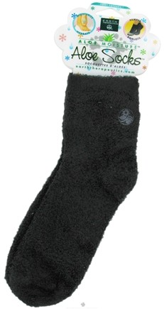 DROPPED: Earth Therapeutics - Aloe Socks Foot Therapy To Pamper & Moisturize Black - 1 Pair