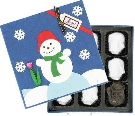 DROPPED: Sjaak's Organic Chocolate - Snowmen Peanut Butter Crunch Dark Chocolate in Handmade Gift Box - 9 Piece(s)