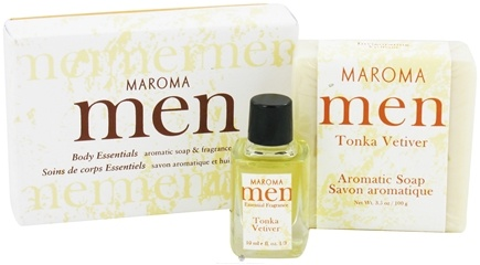 DROPPED: Maroma - Men's Aromatic Soap and Fragrance Oil Gift Set Tonka Vetiver - CLEARANCE PRICED