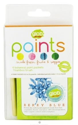 DROPPED: ColorKitchen - Glob Colors Paint Packets Natural Colors with Bamboo Brush - 4  x .2(5g) Packets - CLEARANCE PRICED