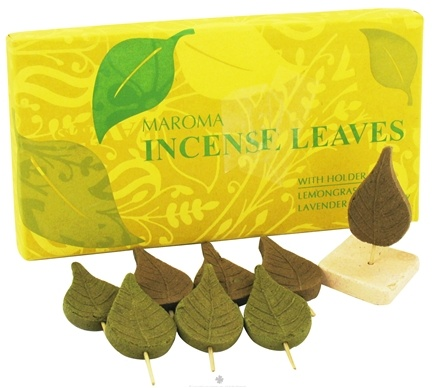 DROPPED: Maroma - Incense Leaves with Holder Lemongrass Lavender & Rosemary - 4 Leaves CLEARANCE PRICED