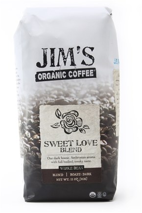 DROPPED: Jim's Organic Coffee - Whole Bean Coffee Sweet Love Blend - 12 oz.
