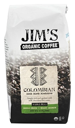 Jim's Organic Coffee - Whole Bean Coffee Colombia - 12 oz.