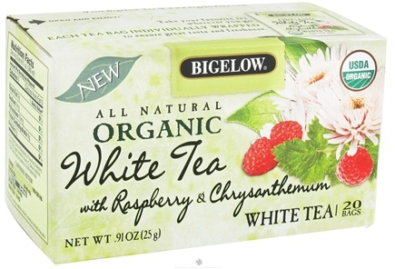 DROPPED: Bigelow Tea - All Natural Organic White Tea With Raspberry & Chrysanthemum - 20 Tea Bags