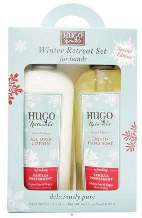 DROPPED: Hugo Naturals - Winter Retreat Lotion and Liquid Hand Soap Set Vanilla Peppermint - CLEARANCED PRICED
