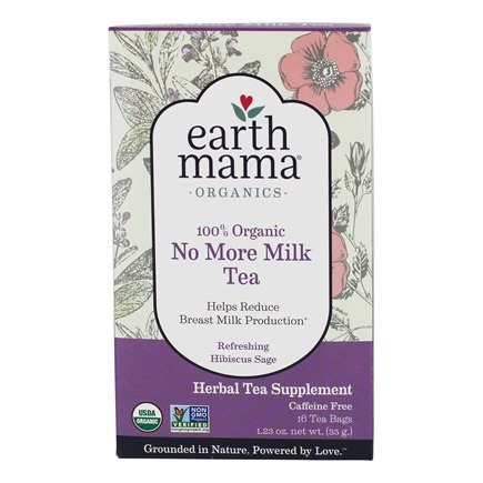 Earth Mama Angel Baby - Organic No More Milk Tea Caffeine Free Refreshing Hibiscus Sage - 16 Tea Bags