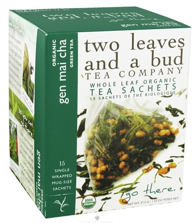 DROPPED: Two Leaves Tea Company - Green Tea Organic Gen Mai Cha - 15 Tea Bags Formerly Two Leaves and a Bud