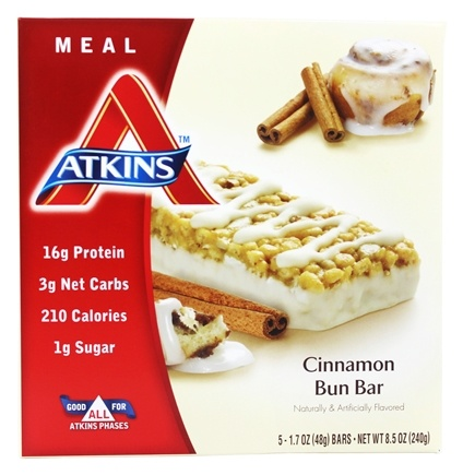 Atkins Nutritionals Inc. - Advantage Meal Bar Cinnamon Bun - 5 Bars