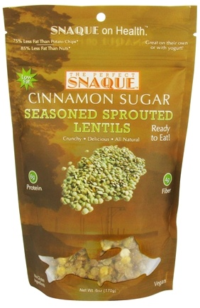 DROPPED: The Perfect Snaque - Seasoned Sprouted Lentils Cinnamon Sugar - 6 oz.