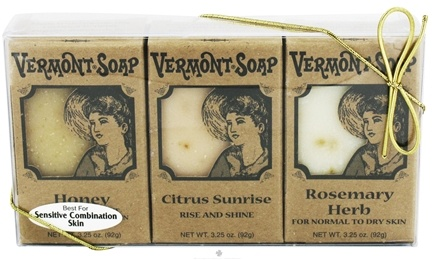 DROPPED: Vermont Soapworks - Bar Soap Gift Pack For Sensitive Combination Skin 3 x 3.25 oz. Bars - CLEARANCE PRICED
